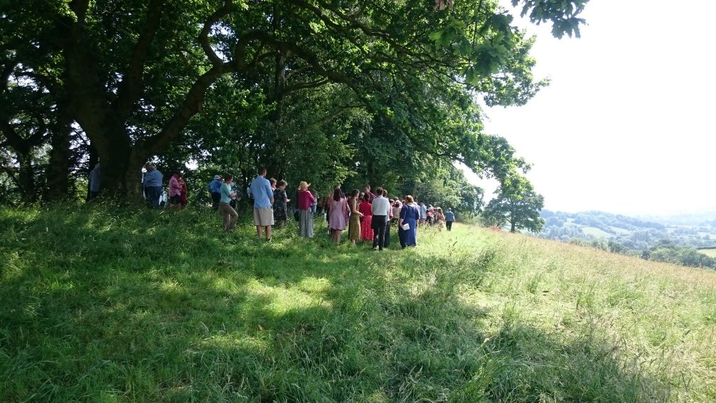Usk Castle Chase Natural Burial Meadow in sunshine
